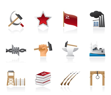 totalitarianism: Communism, socialism and revolution icons - vector icon set Illustration