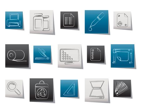 staining: Commercial print icons - vector icon set