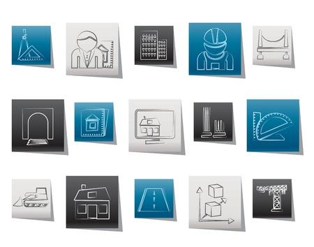건축가: 건축 및 건설 아이콘 - 벡터 아이콘 세트 일러스트