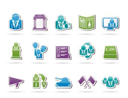 Politiek, verkiezing en politieke partij iconen - vector icon set