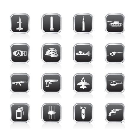 bombe atomique: Arme simple, les bras et les icônes de guerre - jeu d'icônes Vector Illustration