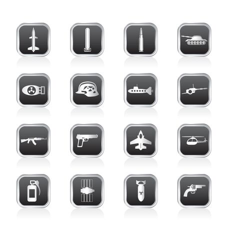 artillery: Simple weapon, arms and war icons - Vector icon set Illustration