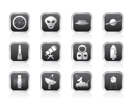 astronautics: Astronautics and Space Icons - Vector Icon Set