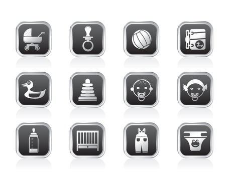 swaddling clothes: Child, Baby and Baby Online Shop Icons - Vector Icon Set Illustration