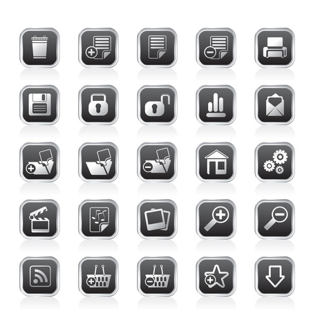 playback: 25 Simple Realistic Detailed Internet Icons - Vector Icon Set Illustration