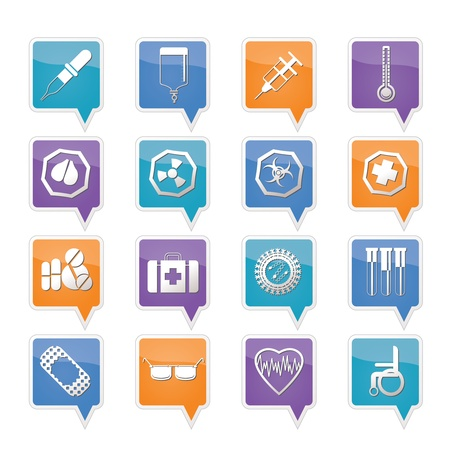 Simple  medical themed icons and warning-signs - vector Icon Set Vector