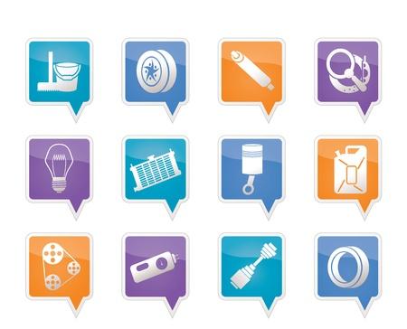 radiador: Piezas de automóviles y iconos Servicios - Vector Icon Set 2