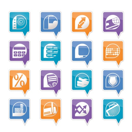 bank, business, finance and office icons - vector icon set Vector