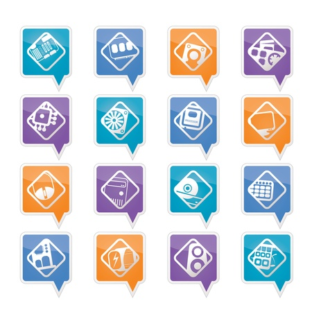 Computer  performance and equipment icons - vector icon set Stock Vector - 11780337