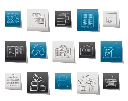 Library and books Icons - vector icon set Vector