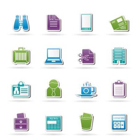 Business and office elements icons - vector icon set Vector