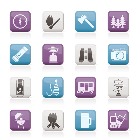Camping, travel and Tourism icons - vector icon set Stock Vector - 11780334