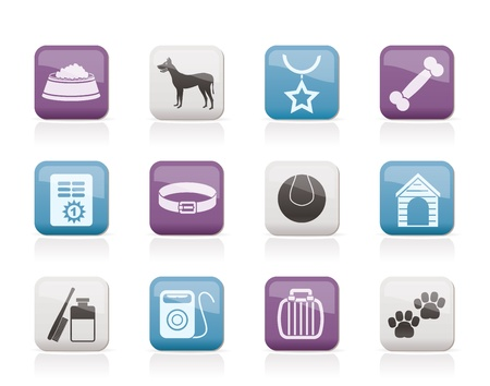 dog collar: dog accessory and symbols icons - vector icon set