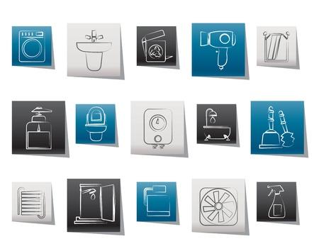 lavabo: Ba�o y aseo objetos e iconos - iconos conjunto de vectores