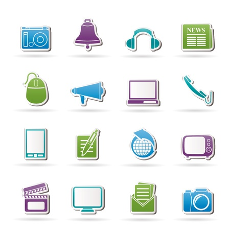 Communication and media icons - vector icon set Stock Vector - 11780284
