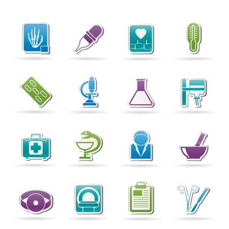 medical scanner: Healthcare and Medicine icons - vector icon set Illustration