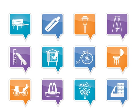 junket: Park objects and signs icon Illustration