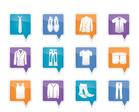 greatcoat: man fashion and clothes icons Illustration