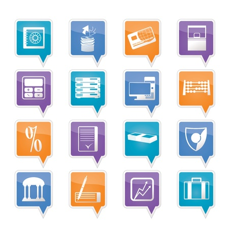 bank, business, finance and office icons set Vector