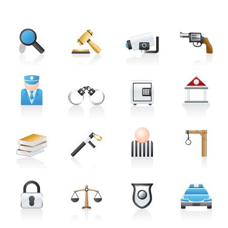 La ley, la policía y el Delito iconos Ilustración de vector
