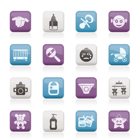 pacifier: Baby, children and toys icons Illustration