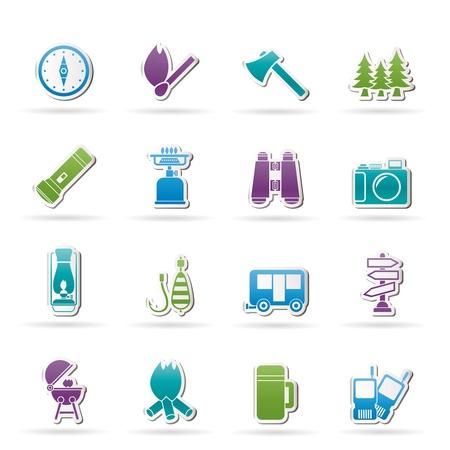 chemin�e gaz: Ic�nes de camping, de voyage et du tourisme