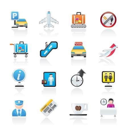 Aeropuerto y transporte iconos Ilustración de vector