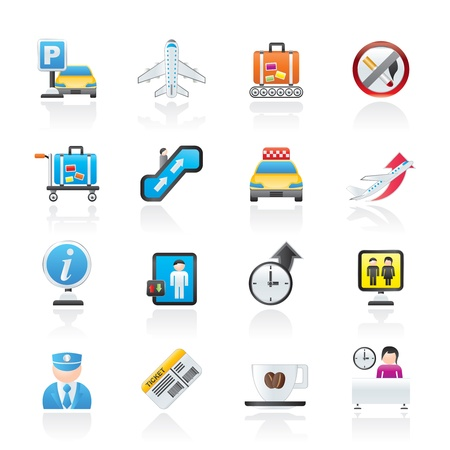 Airport and transportation icons Stock Vector - 11883852