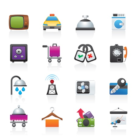 hotel hall: Hotel and motel room facilities icons Illustration