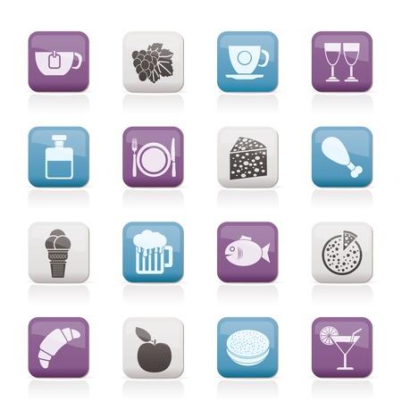 food and drink industry: Prodotti alimentari, bevande e bevande icone Vettoriali