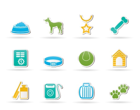 accesorios para perros y símbolos iconos Ilustración de vector