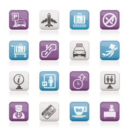 Airport and transportation icons Vector