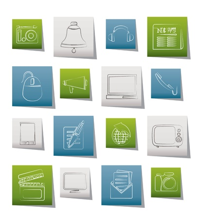 Communication and media icons Stock Vector - 11883839
