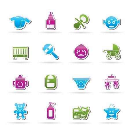 whelps: Baby, children and toys icons Illustration