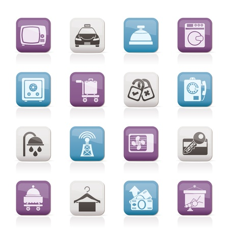Hotel and motel room facilities icons Stock Vector - 12006983