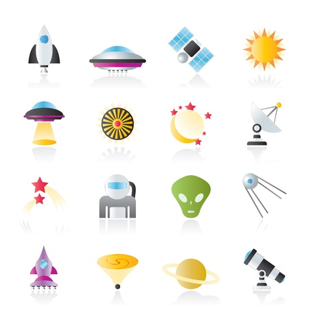 astronautics, space and universe icons Vector