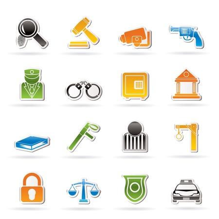 estafette stokje: Wet, politie en misdaad iconen Stock Illustratie