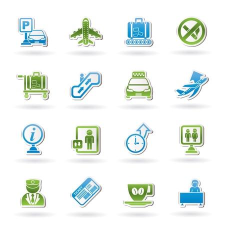 aduana: Aeropuerto y transporte iconos - conjunto de iconos