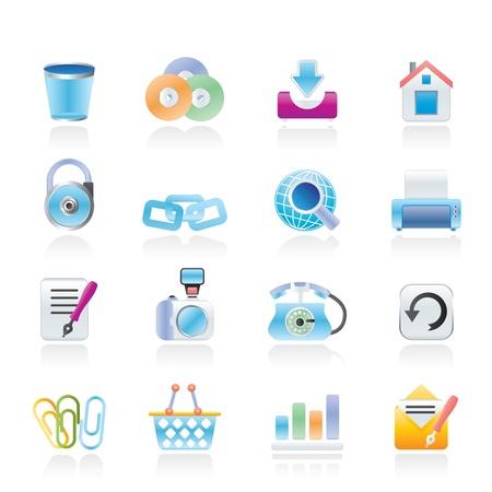 druckerei: Websitenutzung und der Internetnutzung Icons - Icon-Set Illustration