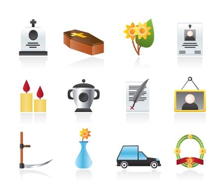 guadaña: funeral y entierro iconos - conjunto de iconos Vectores
