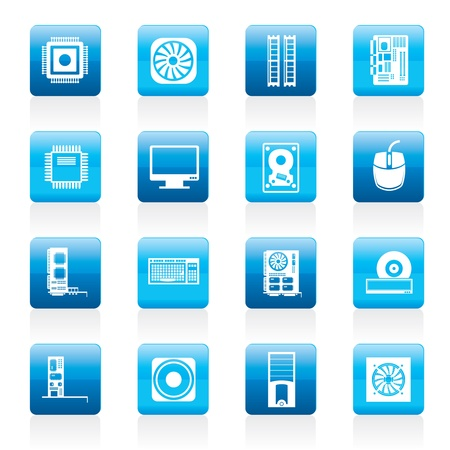 computer case: Computer  performance and equipment icons - icon set