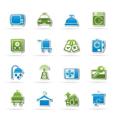 hotel hall: Hotel and motel room facilities icons - icon set