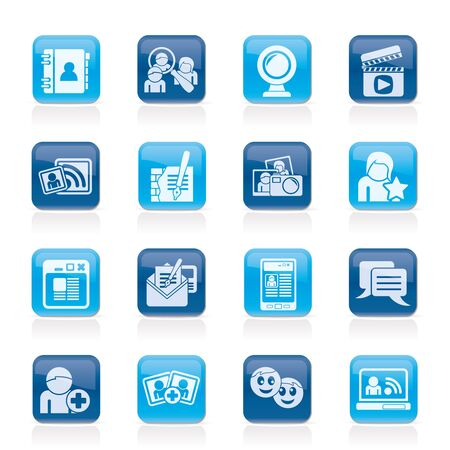 communication icons: social networking and communication icons - icon set Illustration