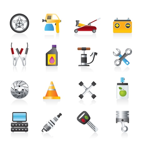 tongs: Transportation and car repair icons - vector icon set
