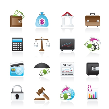 Business, finance and bank icons - icon set Vector