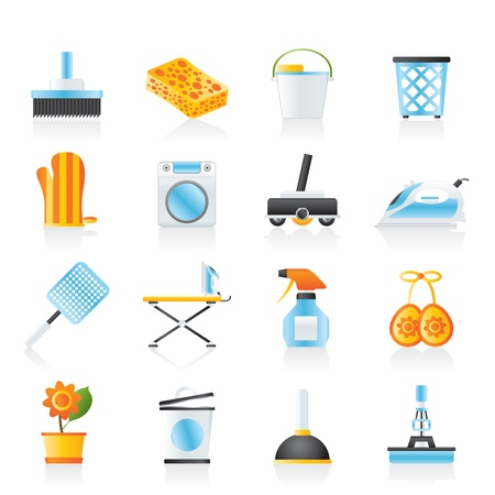 cleanliness: Household objects and tools icons - icon set Illustration