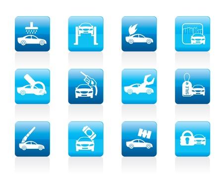 overhaul: auto e servizio icona automobilistica - set di icone Vettoriali