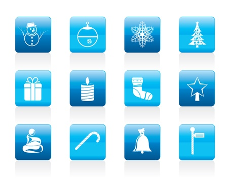 holly day: Beautiful Christmas And Winter Icons - Icon Set Illustration
