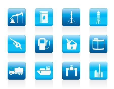tanque de combustible: Petróleo y la gasolina íconos de la industria - conjunto de iconos