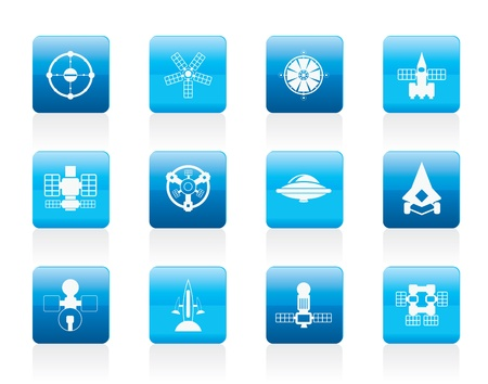 astronautics: different kinds of future spacecraft icons - icon set